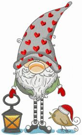 Gnome in phrygian cap with hearts holding lantern machine embroidery design