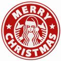 Merry Christmas Starbucks embroidery design
