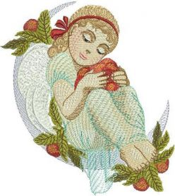 Forest angel machine embroidery design