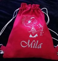 Bag with girl listen music embroidery design