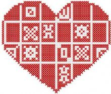 Red heart cross stitch