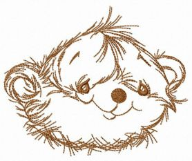 Pretty teddy bear machine embroidery design