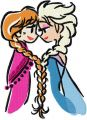 Anna Elsa color sketch embroidery design
