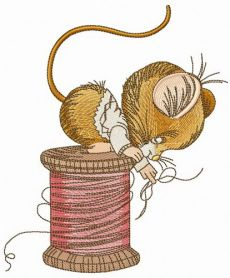Mouse sitting on spool of threads machine embroidery design