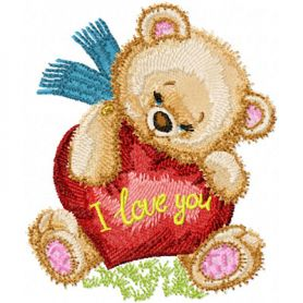 Teddy Bear with Heart machine embroidery design