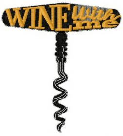 Wine with me machine embroidery design