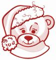 Adorable bear in Santa hat sketch embroidery design