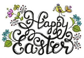 Happy Easter phrase machine embroidery design