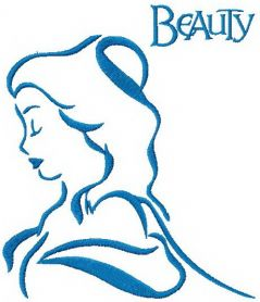 Beauty sketch machine embroidery design