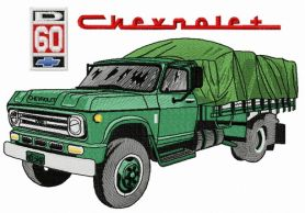 Chevrolet D60 car machine embroidery design