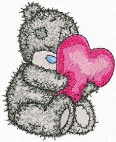 Teddy Bear with heart pillow machine embroidery design