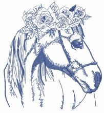 Horse with wreath of roses 2