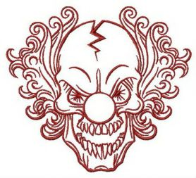 Scary Clown machine embroidery design