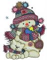 Snowman and snowcat embroidery design