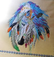 Napkin with Native American horse embroidery design