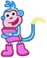 Monkey with Book machine embroidery design