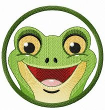 Smiling frog in frame