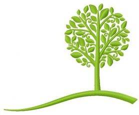 Green tree machine embroidery design