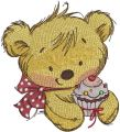 Teddy bear with cupcake 3 embroidery design