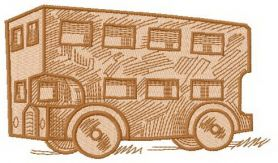Wooden bus machine embroidery design