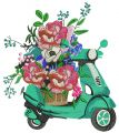 Delivery of flowers embroidery design