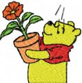 Winnie Pooh with flower 3 embroidery design