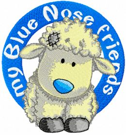 Cottonsocks blue nose friend machine embroidery design