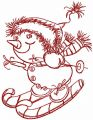 Snowman skiing redwork embroidery design
