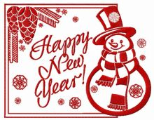 Happy New Year card with snowman