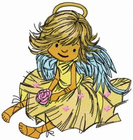 Adorable angel with rose 2 machine embroidery design