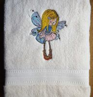 Towel with little fairy embroidery design