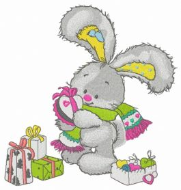 Bunny opens gifts machine embroidery design