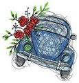 Small blue car embroidery design