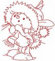 Winter bunny redwork free embroidery design