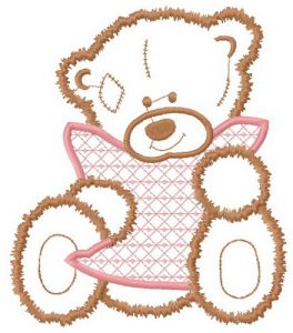 Sad teddy applique