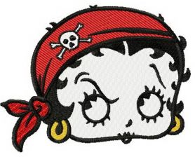 Betty Boop pirate machine embroidery design
