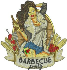 Barbecue party machine embroidery design