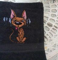 Bath towel with funny cat embroidery design