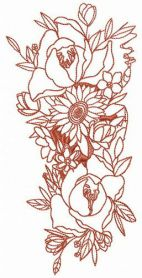 Exotic bouquet machine embroidery design