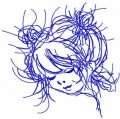 Cute curly girl free embroidery design