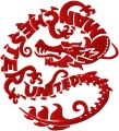 Red dragon embroidery design