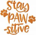 Stay pawsitive free embroidery design