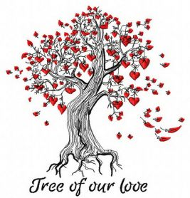 Tree of our love machine embroidery design