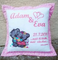 Embroidered pillow with teddy bear wedding design