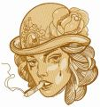 Smoking lady 3 embroidery design