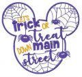 Mickey Let's trick ot treat down main street embroidery design