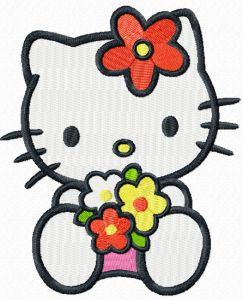 Hello Kitty with sea of flowers