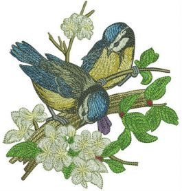 Blue tits on apple tree machine embroidery design