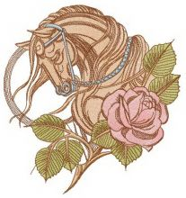 Tired horse and rose