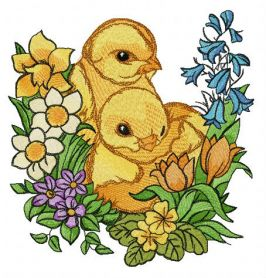 Chickens and garden flowers machine embroidery design